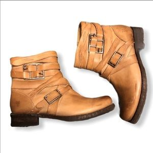 Frye Veronica strappy tan leather boots